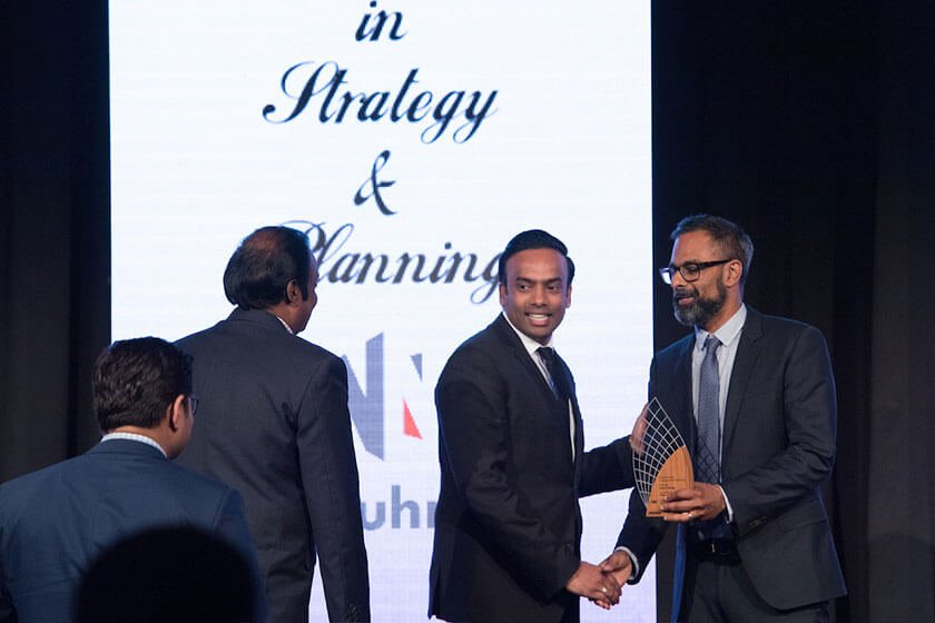 Rahul and Indra Sirigiri accept award